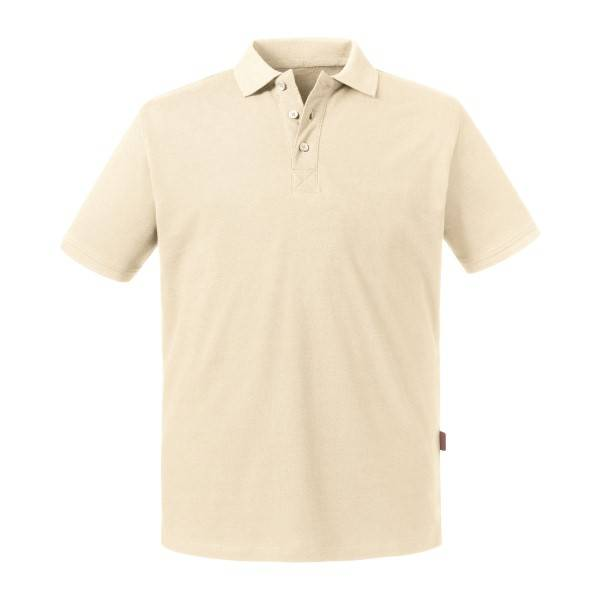 Russell Athletic Pure Organic Men Polo - Creme  - Size: 508M - Color: Kermanvärinen