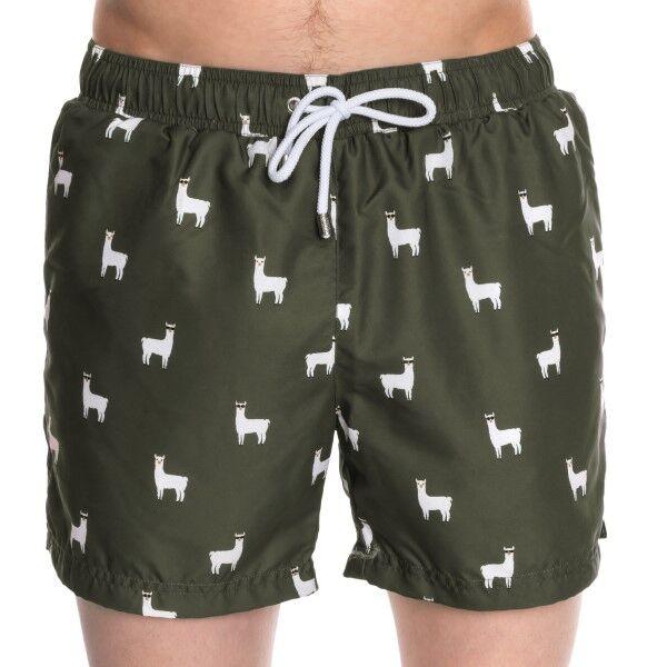 Panos Emporio Classic Llama Swim Shorts - Darkgreen  - Size: 20307 - Color: tummanvihr.
