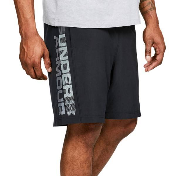 Under Armour Woven Graphic Wordmark Shorts - Black  - Size: 1320203-001 - Color: musta