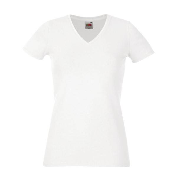 Fruit of the Loom Lady-Fit V-Neck T - White