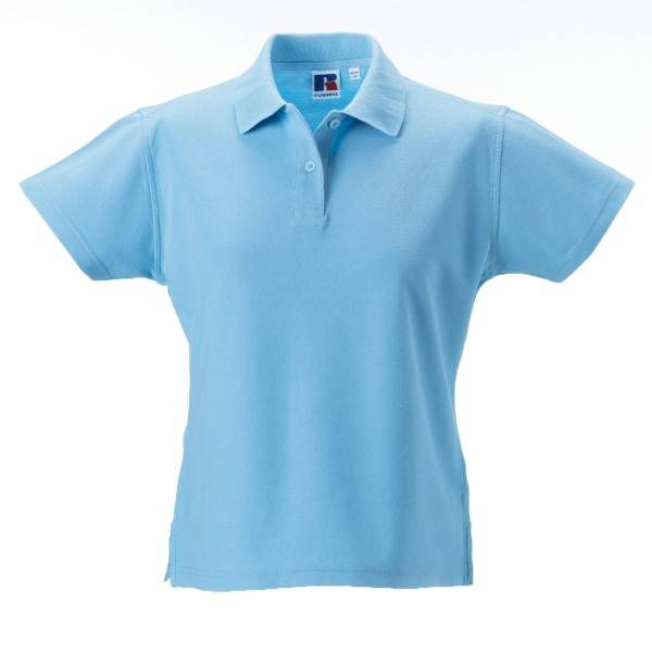 Russell Athletic F 100% Cotton Durable Polo - Skyblue  - Size: 577F - Color: taivaansininen