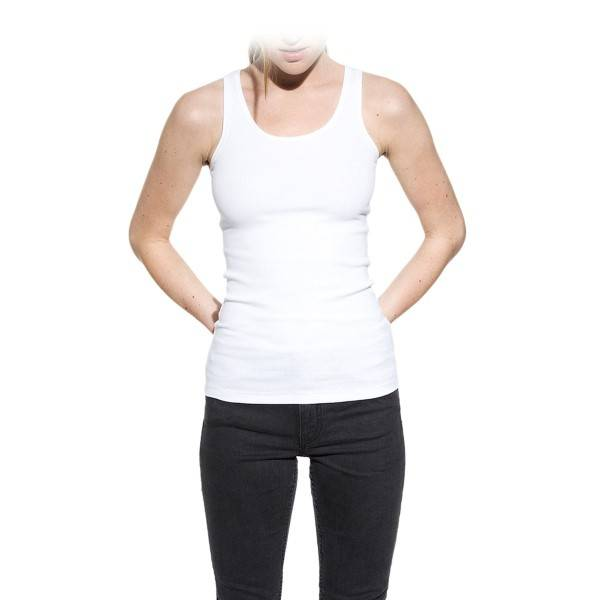 Bread & Boxers Bread and Boxers Tank Ribbed Woman - White  - Size: 605101 - Color: valkoinen