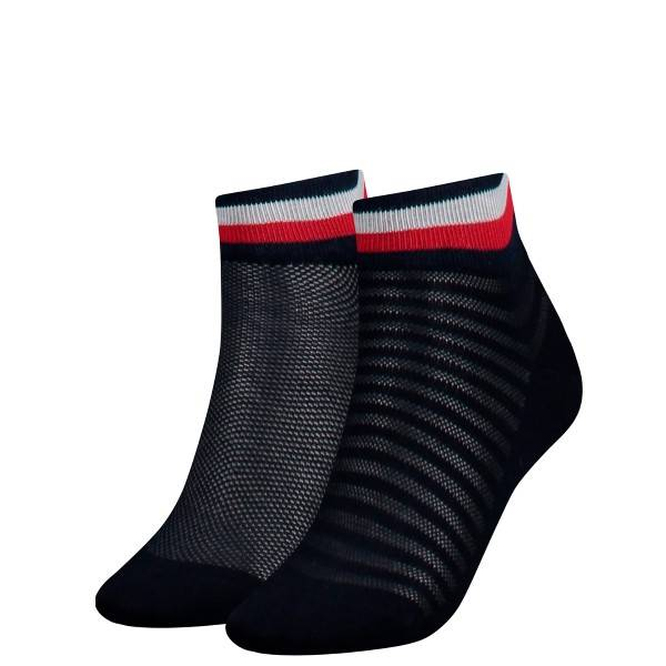 Tommy Hilfiger 2 pakkaus Women Resort Short Sock - Darkblue