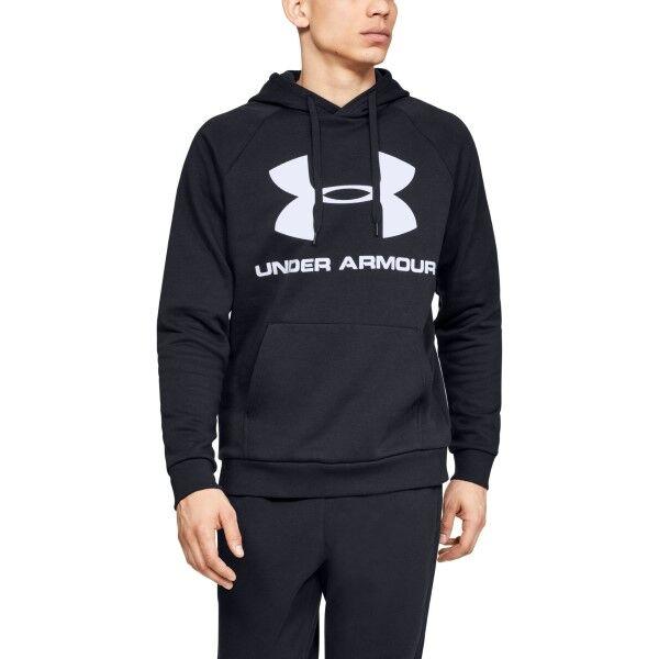 Under Armour Rival Fleece Sportstyle Logo Hoodie - Black  - Size: 1345628 - Color: musta