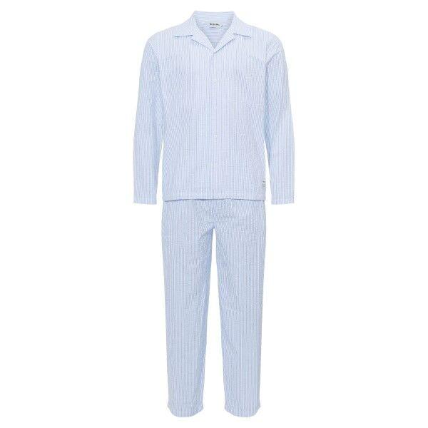 Resteröds Seersucker Pyjama - Lt blue Stripe  - Size: 7997-43 - Color: Vaaleansininen raidallinen