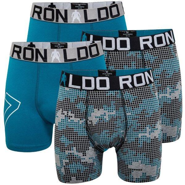 CR7 Cristiano Ronaldo 4 pakkaus Boys Line Cotton Trunk - Grey/Turquoise * Kampanja *  - Size: 8400-51 - Color: hamaa/Turkoosi