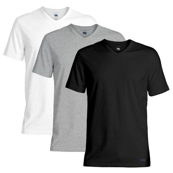 Ted Baker 3 pakkaus 24 7 Basics V-Neck T-Shirt - Black/Grey  - Size: 170448 - Color: musta/harm