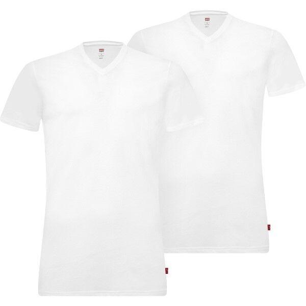 Levis 2 pakkaus Base V-Neck T-shirt - White  - Size: 905056001 - Color: valkoinen