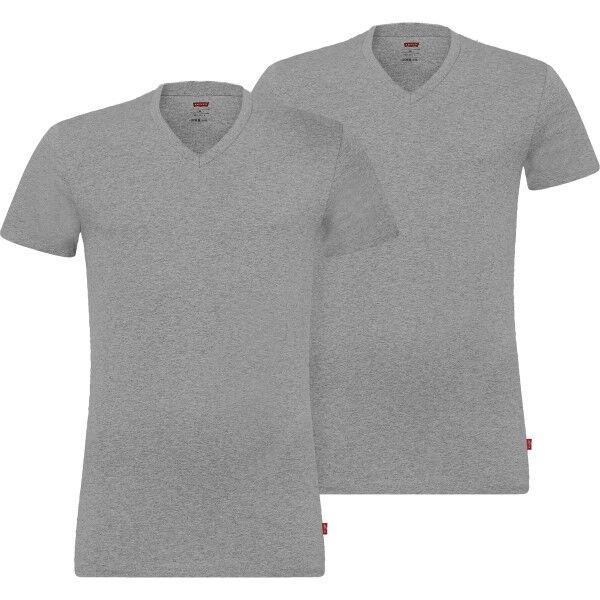 Levis 2 pakkaus Base V-Neck T-shirt - Grey  - Size: 905056001 - Color: harmaa