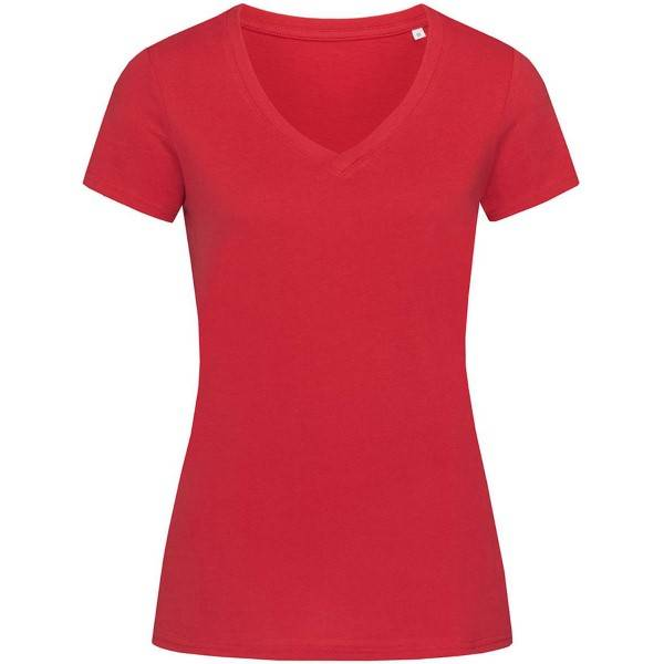 Stedman Janet Organic Women V-Neck - Red  - Size: ST9310 - Color: punainen