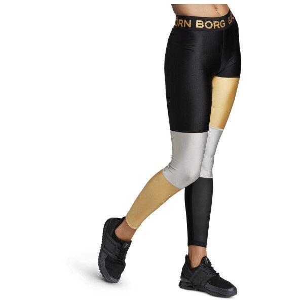 Björn Borg Performance Cendall Blocked Tights - Black/Gold-2  - Size: 2021-1032 - Color: musta/kulta