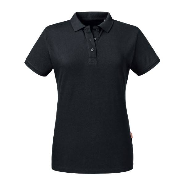 Russell Athletic Pure Organic Women Polo - Black  - Size: 508F - Color: musta