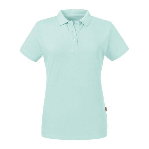 Russell Athletic Pure Organic Women Polo - Turquoise  - Size: 508F - Color: Turkoosi