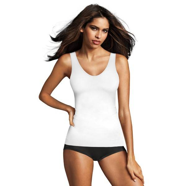Maidenform Sleek Smoothers 2-way Tank - White  - Size: 2584 - Color: valkoinen