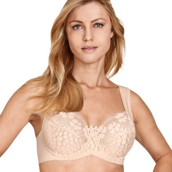 Miss Mary of Sweden Miss Mary Jacquard And Lace Underwire Bra - Beige  - Size: 2166 - Color: Beige