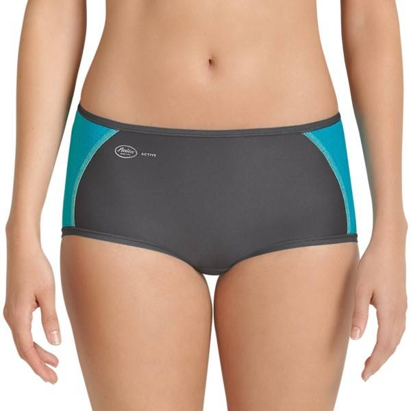 Anita Active Sporty Brief Panty - Grey/Turquoise  - Size: 1627 - Color: hamaa/Turkoosi