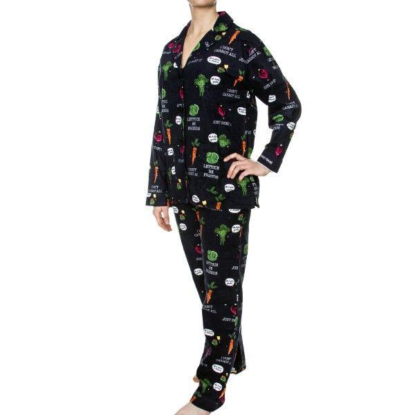PJ Salvage Oh Kale Yeah! Flannel PJ Set - Navy pattern