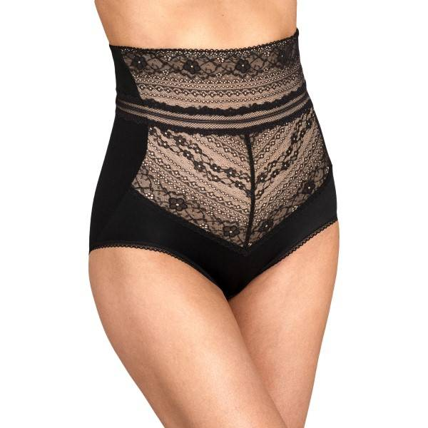 Miss Mary of Sweden Miss Mary Lace Vision High Waist Panty Girdle - Black  - Size: 8404 - Color: musta