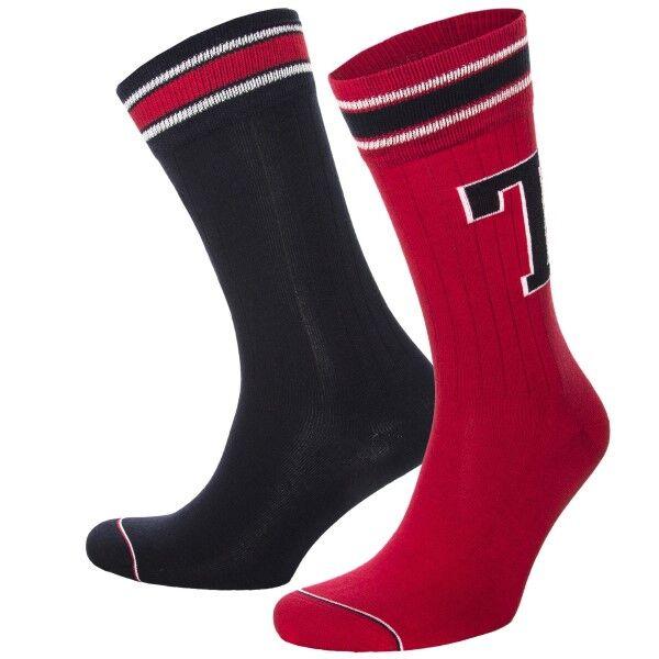 Tommy Hilfiger 2 pakkaus Men Patch Socks - Red  - Size: 472021001 - Color: punainen