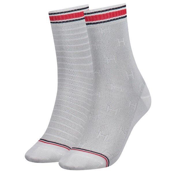 Image of Tommy Hilfiger 2 pakkaus Women TH All Over Sock - White * Kampanja *