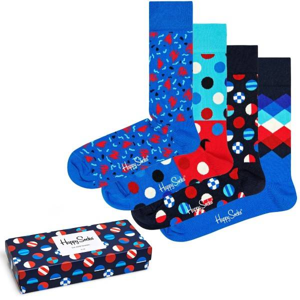 Happy socks 4 pakkaus Navy Gift Box 650 - Mixed  - Size: XNAV09-6500 - Color: Multi-colour