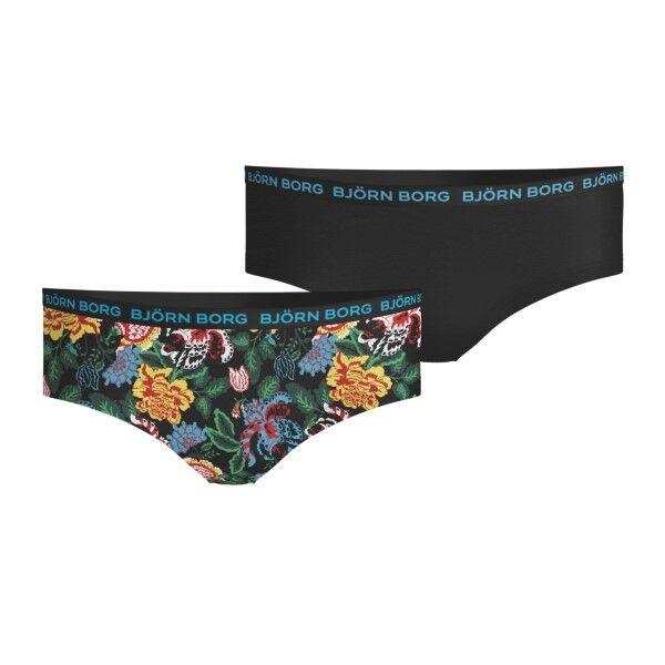 Björn Borg 2 pakkaus Cotton Stretch Hipster For Girls 1932 - Black floral * Kampanja *  - Size: 1931-1731 - Color: Musta kukallinen