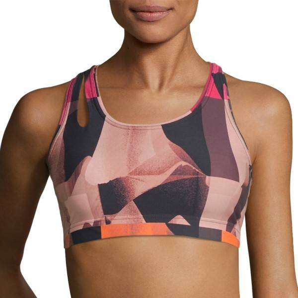 Casall Move Around Sports Bra - Pink Pattern  - Size: 19992 - Color: vaal.pun.kuvio