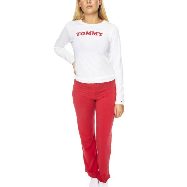 Tommy Hilfiger Logo Pyjama Set LS - Red/White  - Size: UW0UW01929 - Color: pun/valk