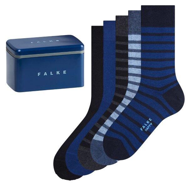 Falke 5 pakkaus Happy Socks Cotton Gift Box - Black/Blue  - Size: 13047 - Color: musta/sin