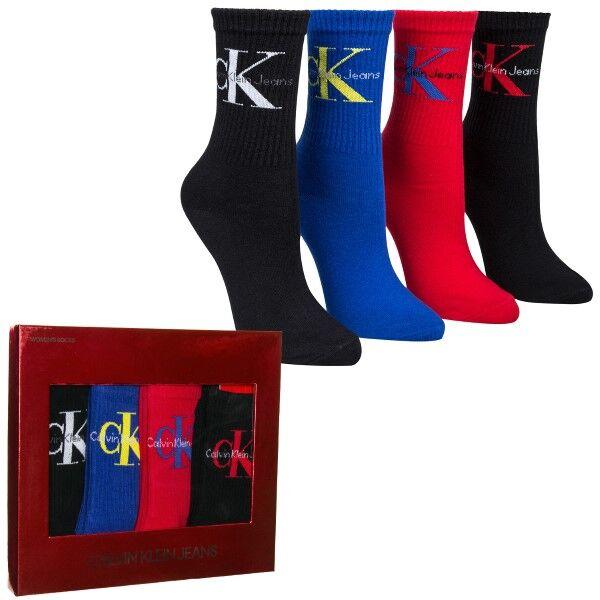 Image of Calvin Klein 4 pakkaus Hudson Jeans Logo Short Crew Gift Box - Mixed  - Size: ECH630 - Color: Multi-colour