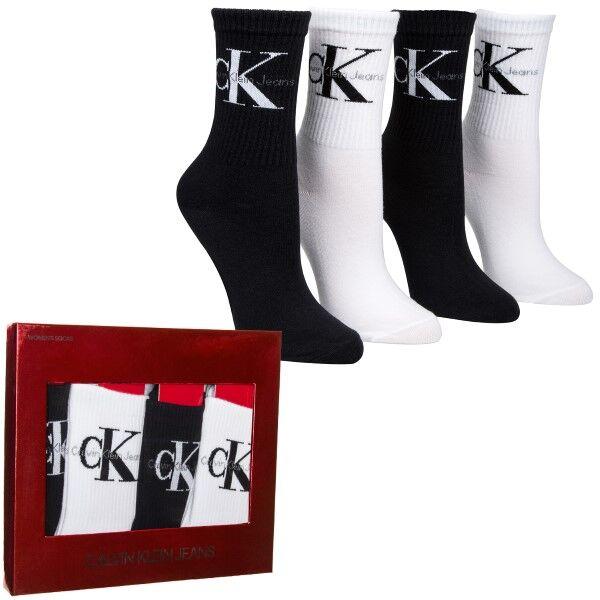 Image of Calvin Klein 4 pakkaus Hudson Jeans Logo Short Crew Gift Box - Black/White  - Size: ECH630 - Color: musta/valk