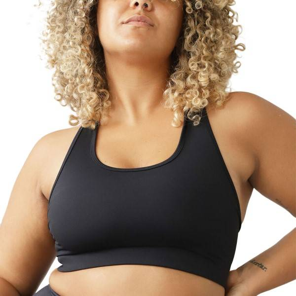 Image of Stay In Place StayInPlace Compression Sports Bra - Black  - Size: 9021CD - Color: musta