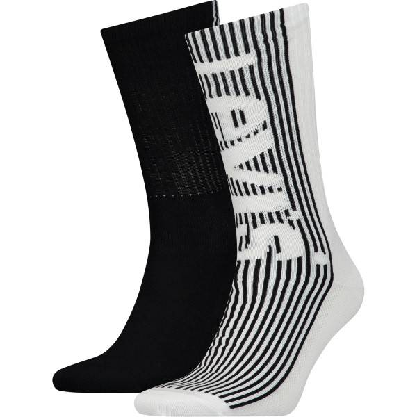 Levis 2 pakkaus Retro Regular Cut Sock - Black/White  - Size: 903042001 - Color: musta/valk