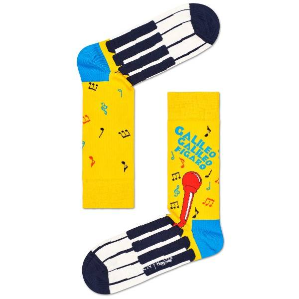 Happy Socks Queen Sock - Yellow Pattern  - Size: QUE01 - Color: kelt. Kuvionti