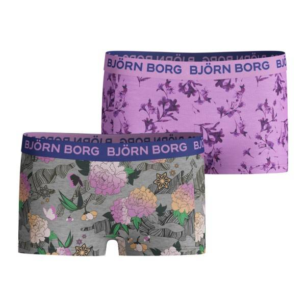 Björn Borg 2 pakkaus Cotton Stretch Shorts For Girls 212 - Pink Pattern  - Size: 2021-1183 - Color: vaal.pun.kuvio
