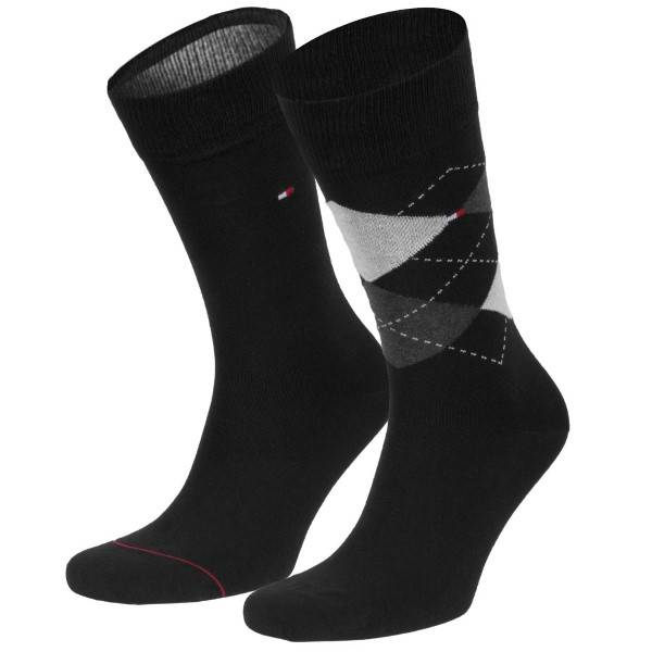 Tommy Hilfiger 2 pakkaus Men Sock Check - Black  - Size: 100001495 - Color: musta