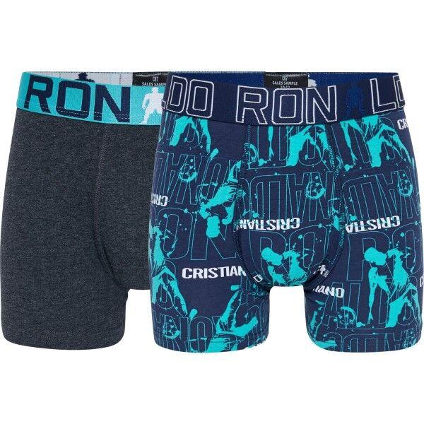 CR7 Cristiano Ronaldo 2 pakkaus Boys Line Trunk - Blue/Grey  - Size: 8400-51 - Color: sin/harm