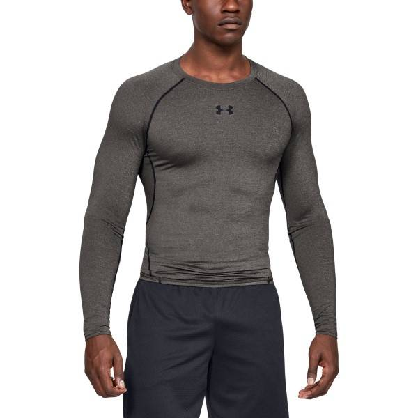 Under Armour HeatGear LS Compression Shirt - Grey  - Size: 1257471-090 - Color: harmaa