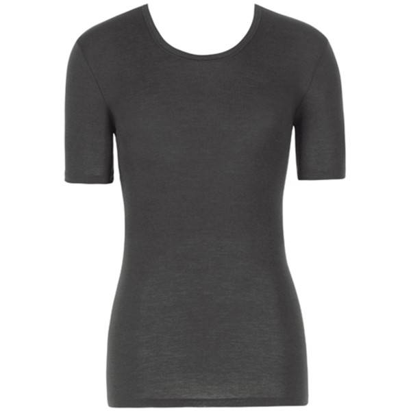 Hanro Woolen Silk Short-sleeved Shirt - Black