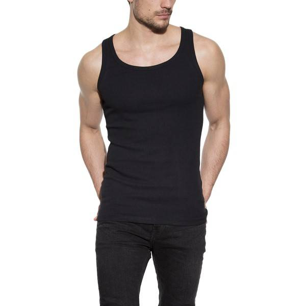 Bread & Boxers Bread and Boxers Tank Ribbed - Black  - Size: 105302 - Color: musta