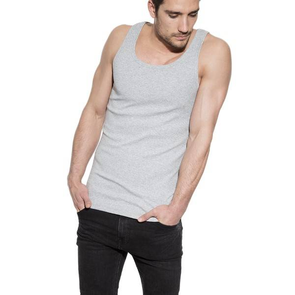 Bread & Boxers Bread and Boxers Tank Ribbed - Grey  - Size: 105303 - Color: harmaa