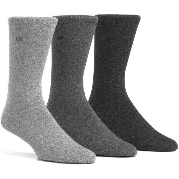 Image of Calvin Klein 3 pakkaus Eric Cotton Flat Knit Socks - Light grey