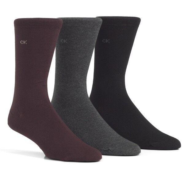 Calvin Klein 3 pakkaus Eric Cotton Flat Knit Socks - Black/Grey