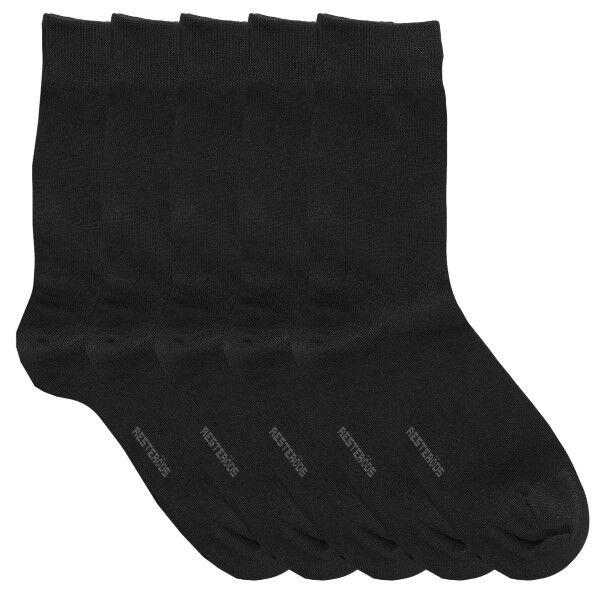 Resteröds 5 pakkaus Bamboo Socks - Black  - Size: 7255-75 - Color: musta