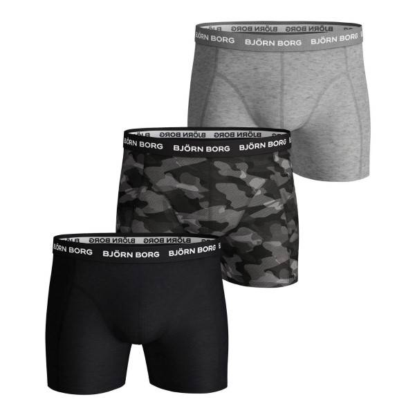 Björn Borg 3 pakkaus Essential Shadeline Shorts - Grey/Black  - Size: 9999-1132 - Color: harmaa/musta