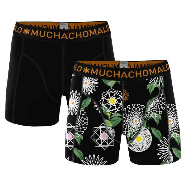 Muchachomalo 2 pakkaus Cotton Modal Geometric Boxer - Black pattern-2