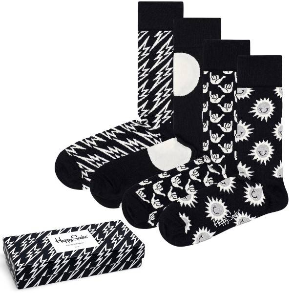 Happy socks 4 pakkaus Black and White Gift Box - Mixed  - Size: XBLW09 - Color: Multi-colour