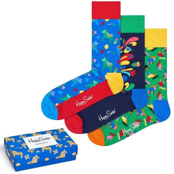 Happy socks 3 pakkaus Swedish Edition Gift Box - Mixed  - Size: XSWE08 - Color: Multi-colour