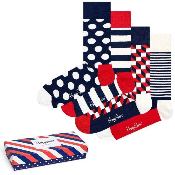 Happy socks 4 pakkaus Stripe Socks Gift Box - Mixed  - Size: XBDO09-6000 - Color: Multi-colour