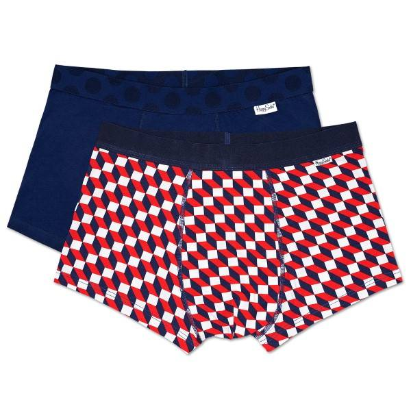 Happy socks 2 pakkaus Filled Optic Trunk - Navy/Checked